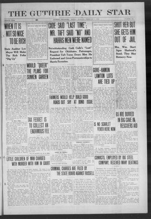 Primary view of object titled 'The Guthrie Daily Star (Guthrie, Okla.), Vol. 8, No. 288, Ed. 1 Friday, February 9, 1912'.