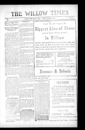 Primary view of object titled 'The Willow Times (Willow, Okla.), Vol. 2, No. 34, Ed. 1 Friday, February 1, 1918'.