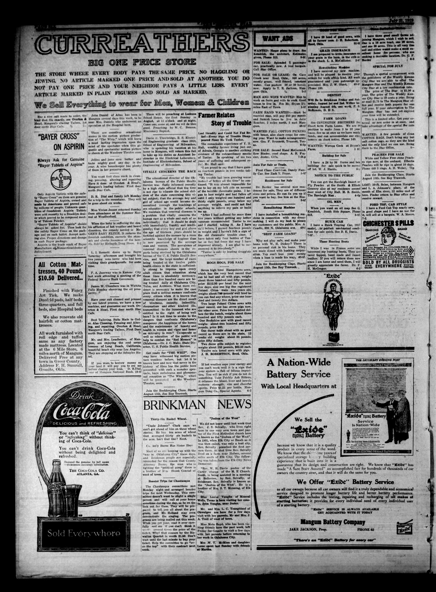 51c81db4235 The Mangum Star And Southwest Eagle (Mangum, Okla.), Vol. 32, No. 7, Ed. 1  Wednesday, July 30, 1919 - Page 6 of 10 - The Gateway to Oklahoma History