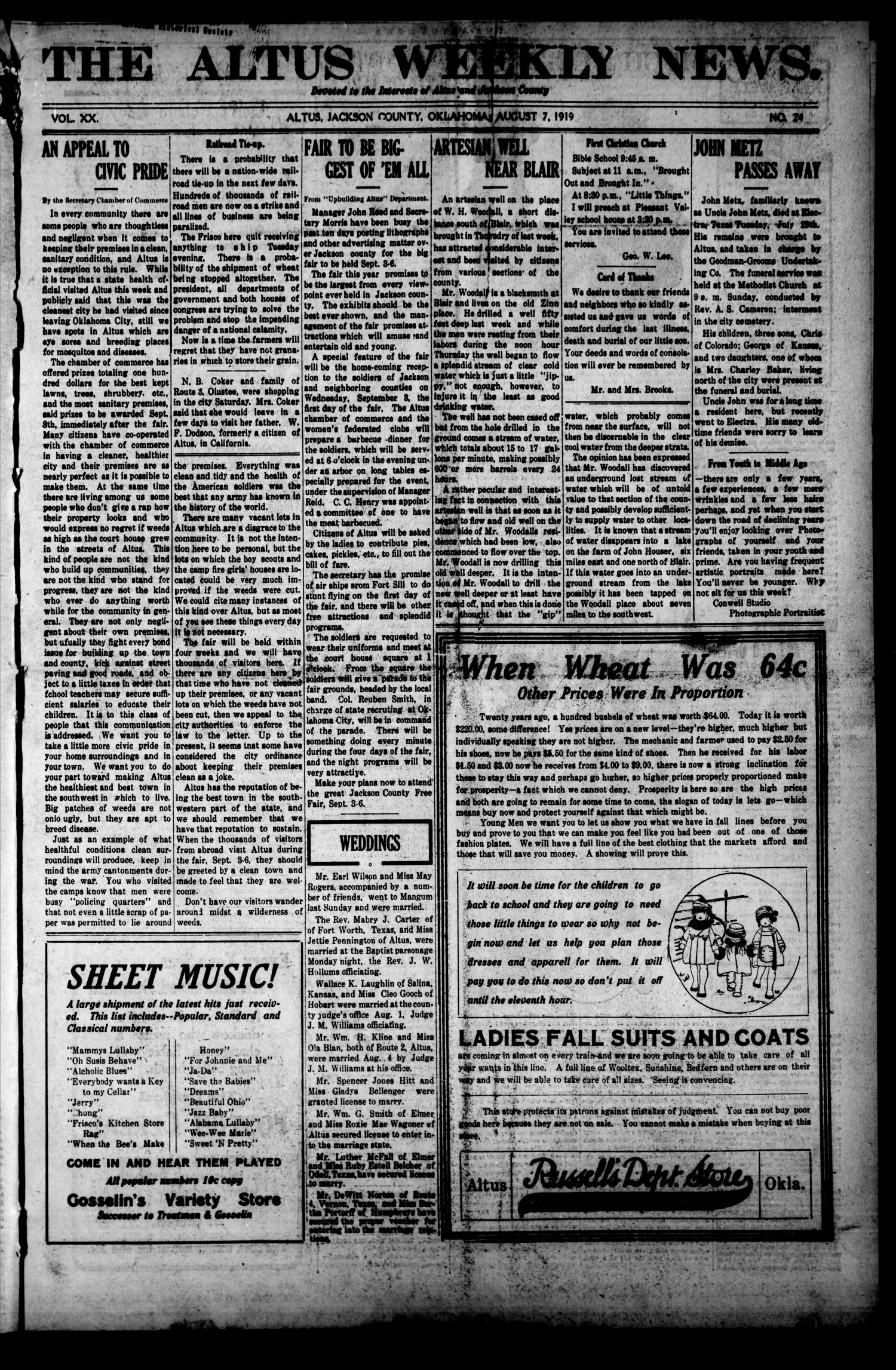 The Altus Weekly News. (Altus, Okla.), Vol. 20, No. 24, Ed. 1 Thursday, August 7, 1919                                                                                                      [Sequence #]: 1 of 10