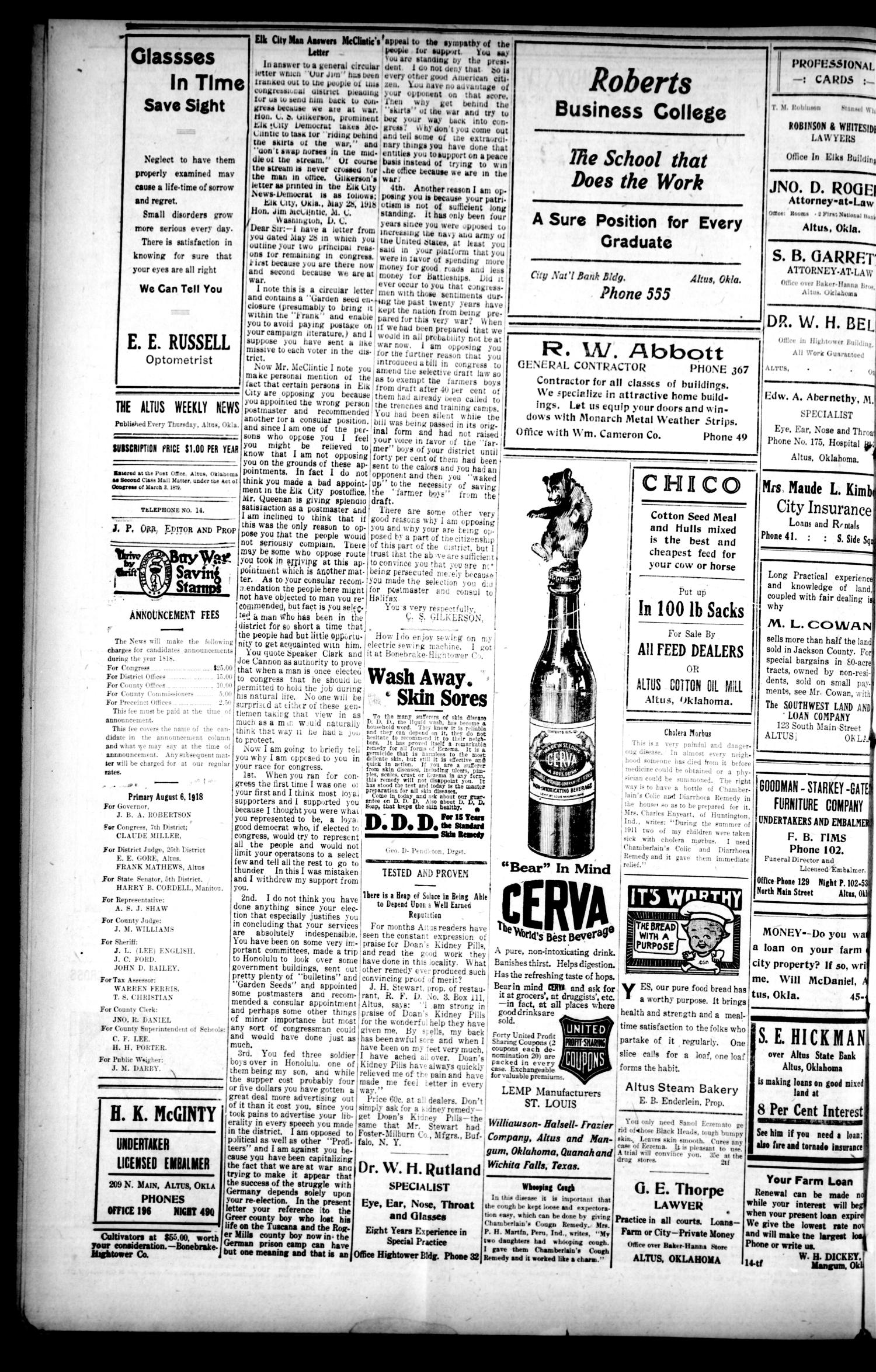 The Altus Weekly News (Altus, Okla.), Vol. 19, No. 16, Ed. 1 Thursday, June 13, 1918                                                                                                      [Sequence #]: 4 of 8