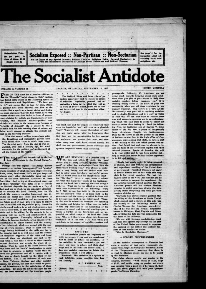 Primary View Of Object Led The Socialist Antidote Granite Okla