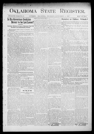 Primary view of object titled 'Oklahoma State Register. (Guthrie, Okla.), Vol. 12, No. 37, Ed. 1 Thursday, September 3, 1903'.