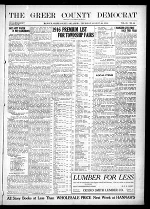 Primary view of object titled 'The Greer County Democrat (Mangum, Okla.), Vol. 26, No. 50, Ed. 1 Thursday, August 24, 1916'.