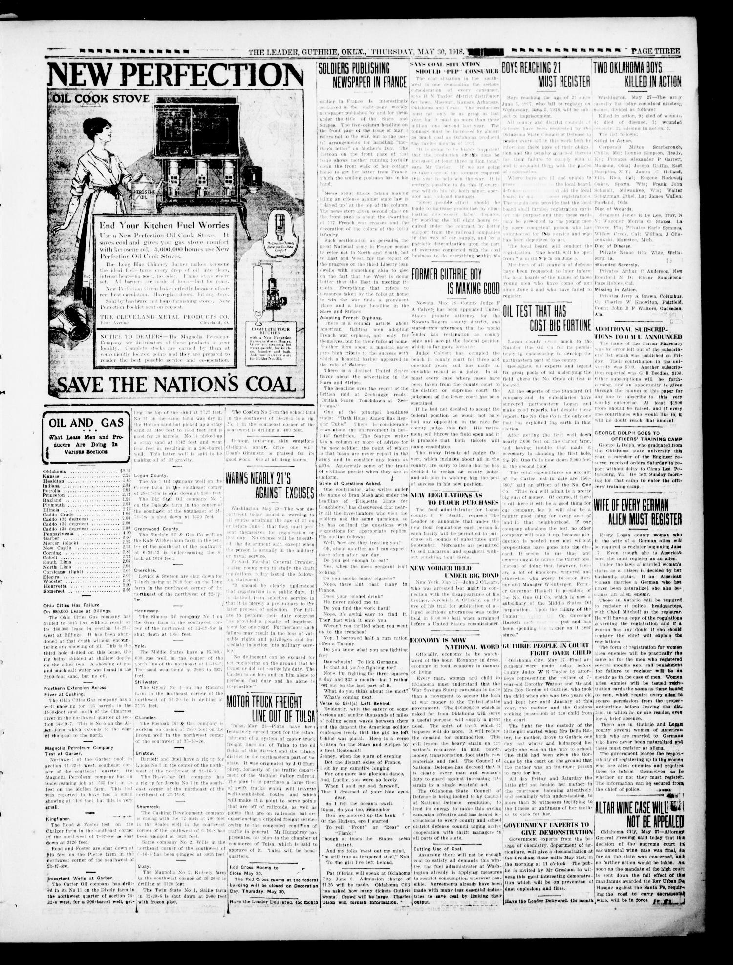 The Oklahoma Leader (Guthrie, Okla.), Vol. 28, No. 24, Ed. 1 Thursday, May 30, 1918                                                                                                      [Sequence #]: 3 of 8