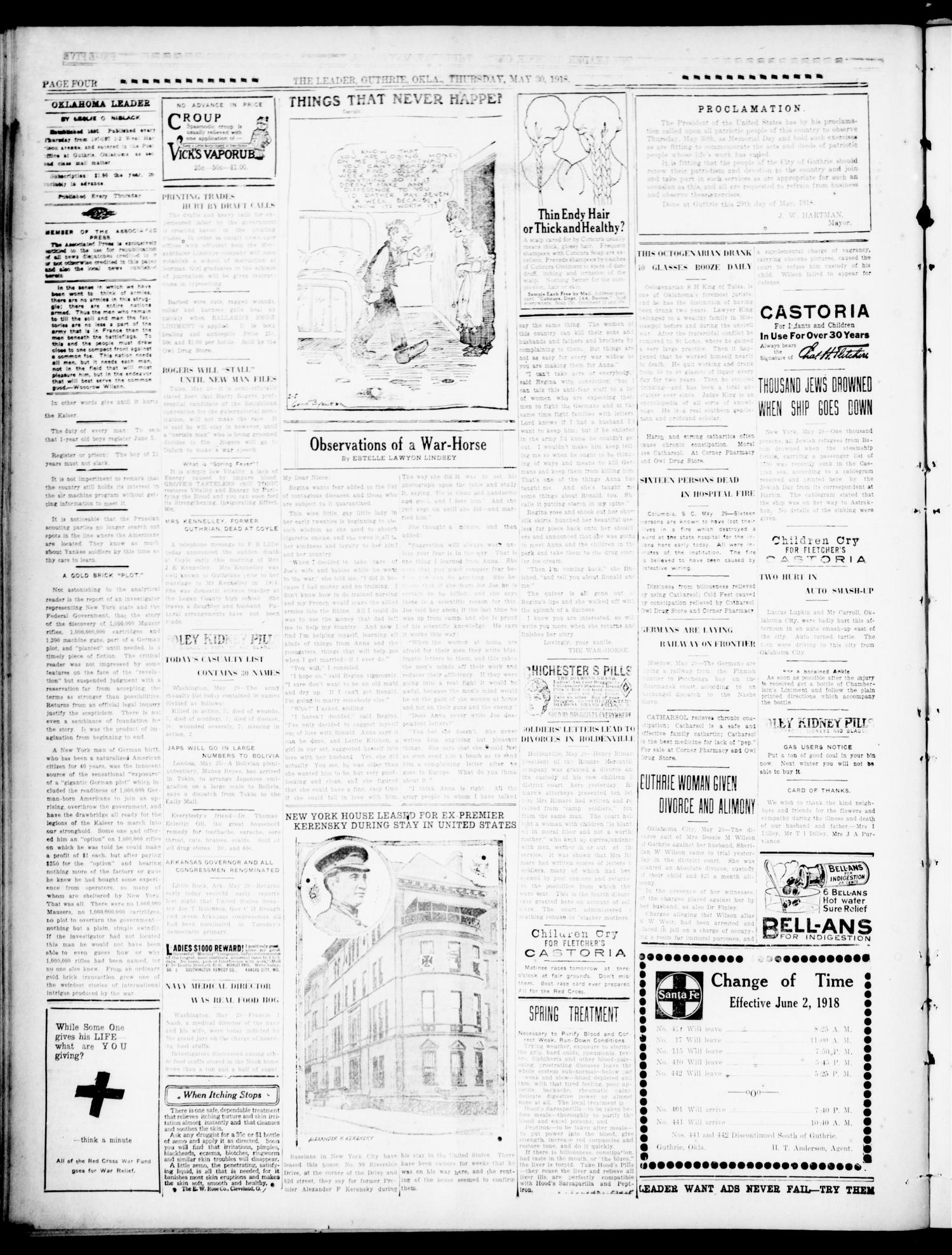 The Oklahoma Leader (Guthrie, Okla.), Vol. 28, No. 24, Ed. 1 Thursday, May 30, 1918                                                                                                      [Sequence #]: 4 of 8