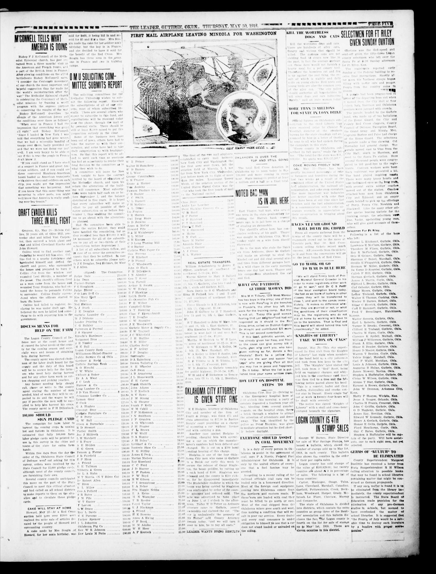 The Oklahoma Leader (Guthrie, Okla.), Vol. 28, No. 24, Ed. 1 Thursday, May 30, 1918                                                                                                      [Sequence #]: 5 of 8