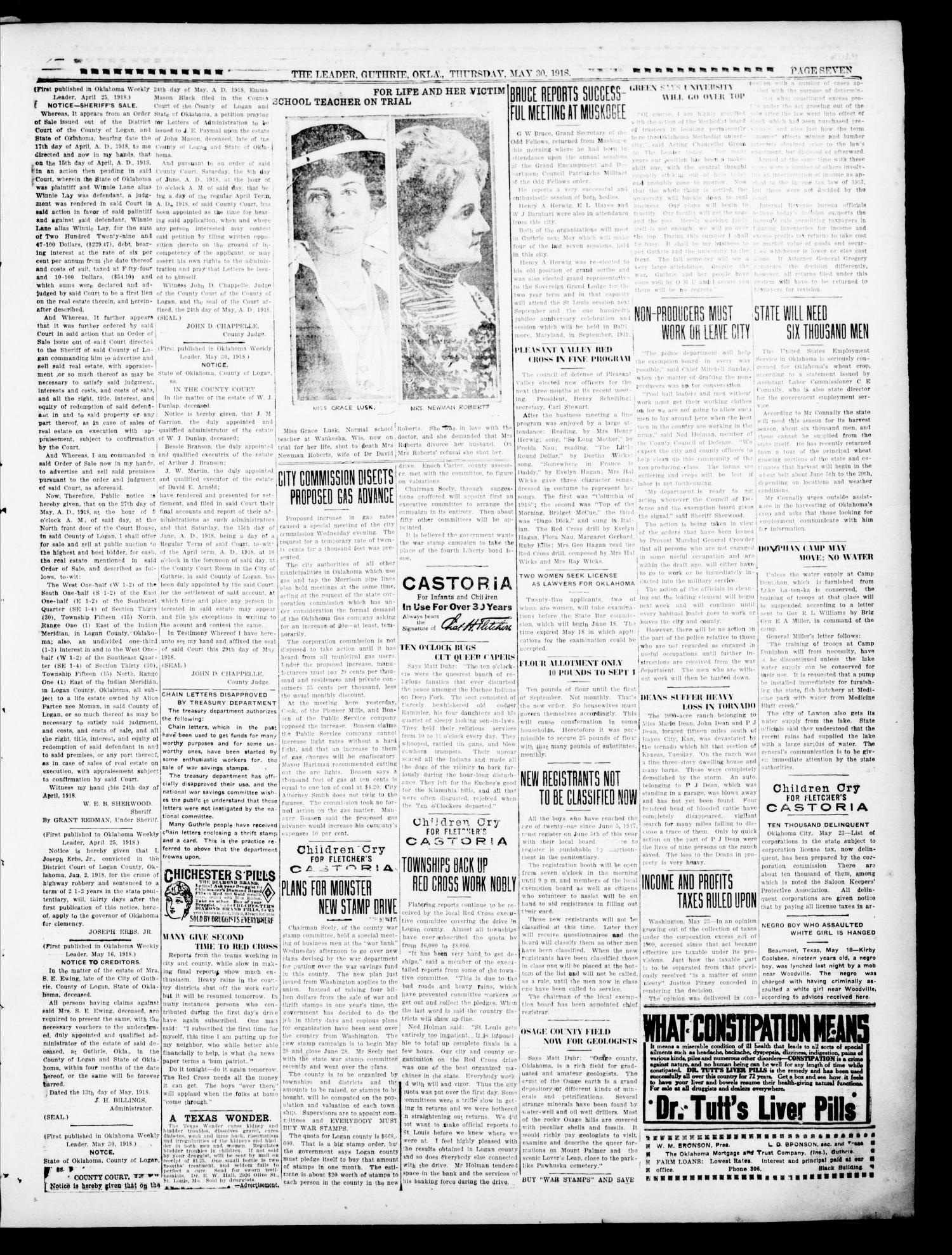 The Oklahoma Leader (Guthrie, Okla.), Vol. 28, No. 24, Ed. 1 Thursday, May 30, 1918                                                                                                      [Sequence #]: 7 of 8
