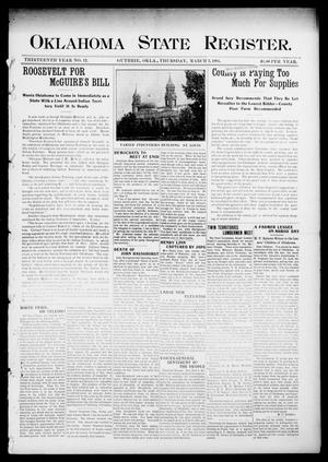 Primary view of object titled 'Oklahoma State Register. (Guthrie, Okla.), Vol. 13, No. 12, Ed. 1 Thursday, March 3, 1904'.