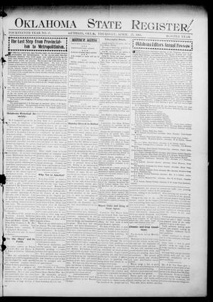 Primary view of object titled 'Oklahoma State Register. (Guthrie, Okla.), Vol. 14, No. 17, Ed. 1 Thursday, April 27, 1905'.