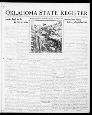 Primary view of object titled 'Oklahoma State Register (Guthrie, Okla.), Vol. 27, No. 44, Ed. 1 Thursday, March 14, 1918'.