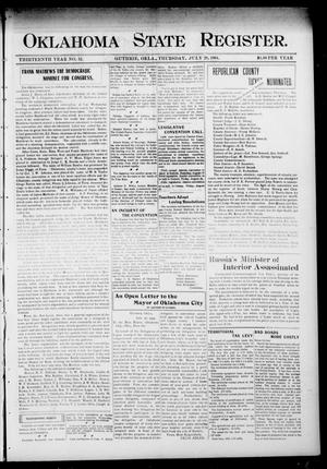 Primary view of object titled 'Oklahoma State Register. (Guthrie, Okla.), Vol. 13, No. 32, Ed. 1 Thursday, July 28, 1904'.
