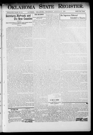 Primary view of object titled 'Oklahoma State Register. (Guthrie, Okla.), Vol. 12, No. 35, Ed. 1 Thursday, August 27, 1903'.