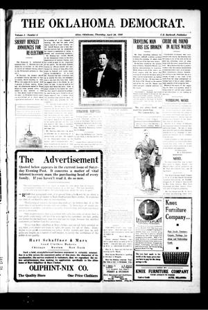 Primary view of object titled 'The Oklahoma Democrat. (Altus, Okla.), Vol. 4, No. 4, Ed. 1 Thursday, April 28, 1910'.