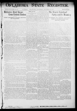 Primary view of object titled 'Oklahoma State Register. (Guthrie, Okla.), Vol. 12, No. 43, Ed. 1 Thursday, October 22, 1903'.