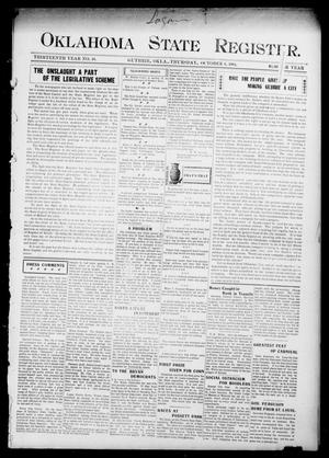 Primary view of object titled 'Oklahoma State Register. (Guthrie, Okla.), Vol. 13, No. 40, Ed. 1 Thursday, October 6, 1904'.