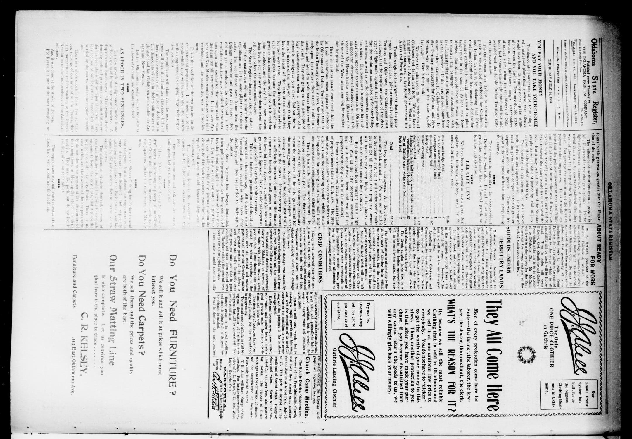 Oklahoma State Register. (Guthrie, Okla.), Vol. 13, No. 30, Ed. 1 Thursday, July 14, 1904                                                                                                      [Sequence #]: 4 of 8