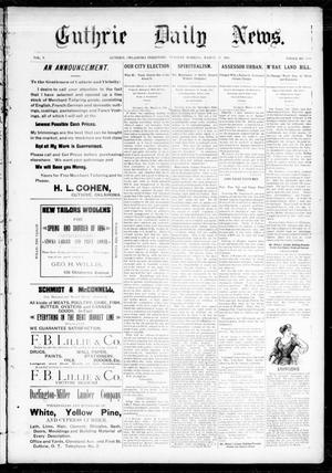 Primary view of object titled 'Guthrie Daily News. (Guthrie, Okla. Terr.), Vol. 5, No. 1430, Ed. 1 Tuesday, March 13, 1894'.