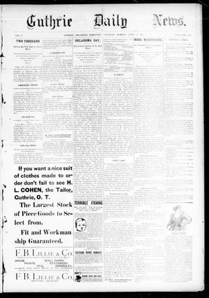 Primary view of object titled 'Guthrie Daily News. (Guthrie, Okla. Terr.), Vol. 5, No. 1464, Ed. 1 Saturday, April 21, 1894'.