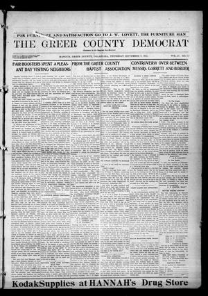Primary view of object titled 'The Greer County Democrat (Mangum, Okla.), Vol. 25, No. 52, Ed. 1 Thursday, September 9, 1915'.
