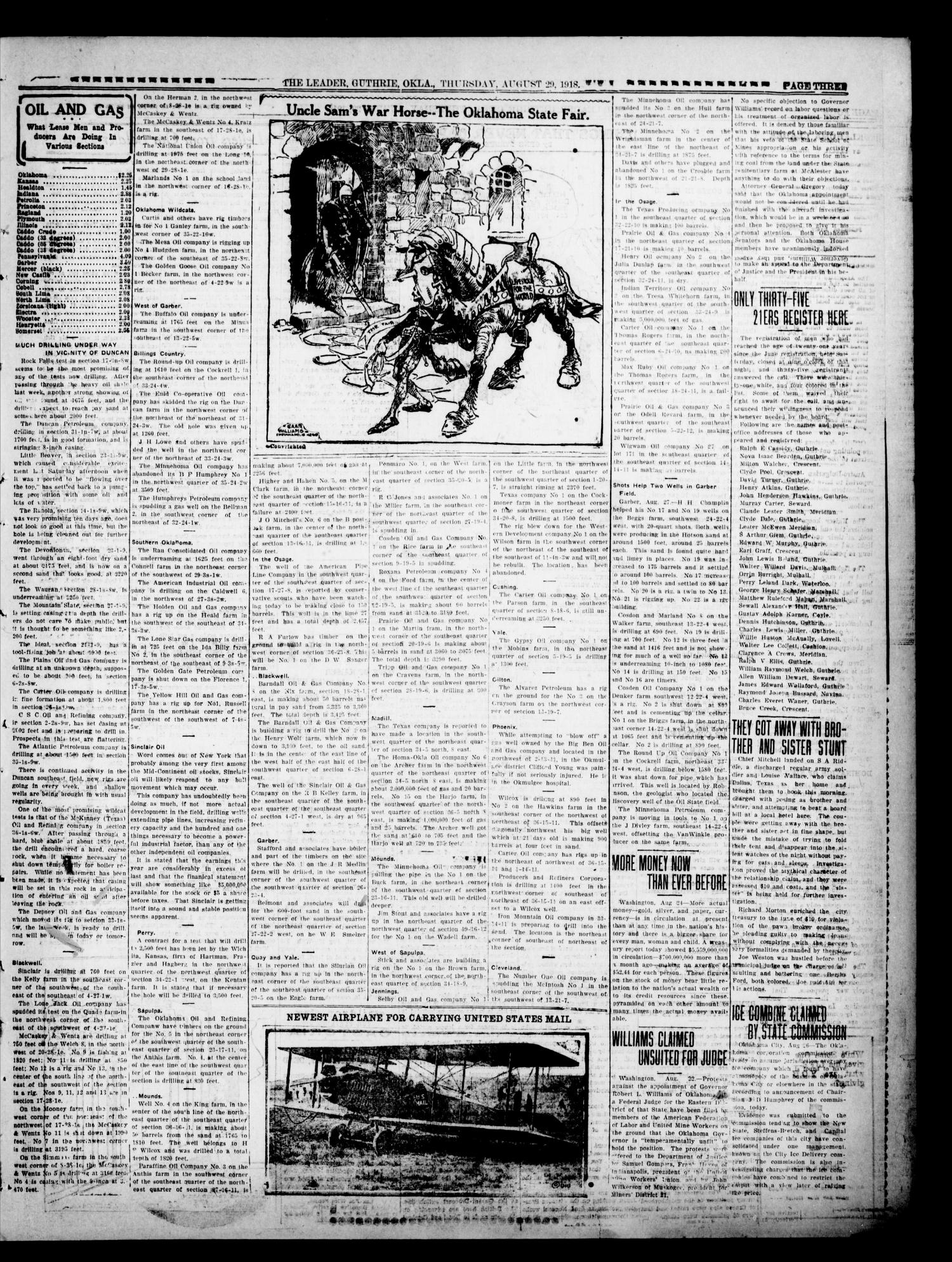The Oklahoma Leader (Guthrie, Okla.), Vol. 28, No. 33, Ed. 1 Thursday, August 29, 1918                                                                                                      [Sequence #]: 3 of 8