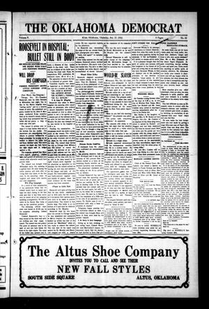 Primary view of object titled 'The Oklahoma Democrat (Altus, Okla.), Vol. 5, No. 32, Ed. 1 Thursday, October 17, 1912'.