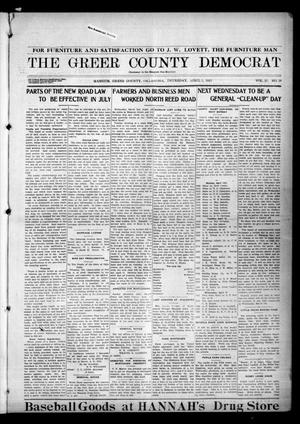 Primary view of object titled 'The Greer County Democrat (Mangum, Okla.), Vol. 25, No. 29, Ed. 1 Thursday, April 1, 1915'.