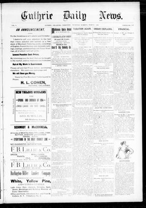 Primary view of object titled 'Guthrie Daily News. (Guthrie, Okla. Terr.), Vol. 5, No. 1426, Ed. 1 Thursday, March 8, 1894'.