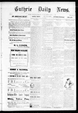 Primary view of object titled 'Guthrie Daily News. (Guthrie, Okla. Terr.), Vol. 5, No. 1429, Ed. 1 Sunday, March 11, 1894'.