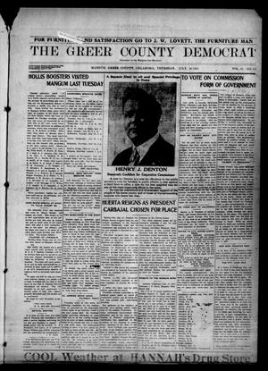 Primary view of object titled 'The Greer County Democrat (Mangum, Okla.), Vol. 24, No. 44, Ed. 1 Thursday, July 16, 1914'.
