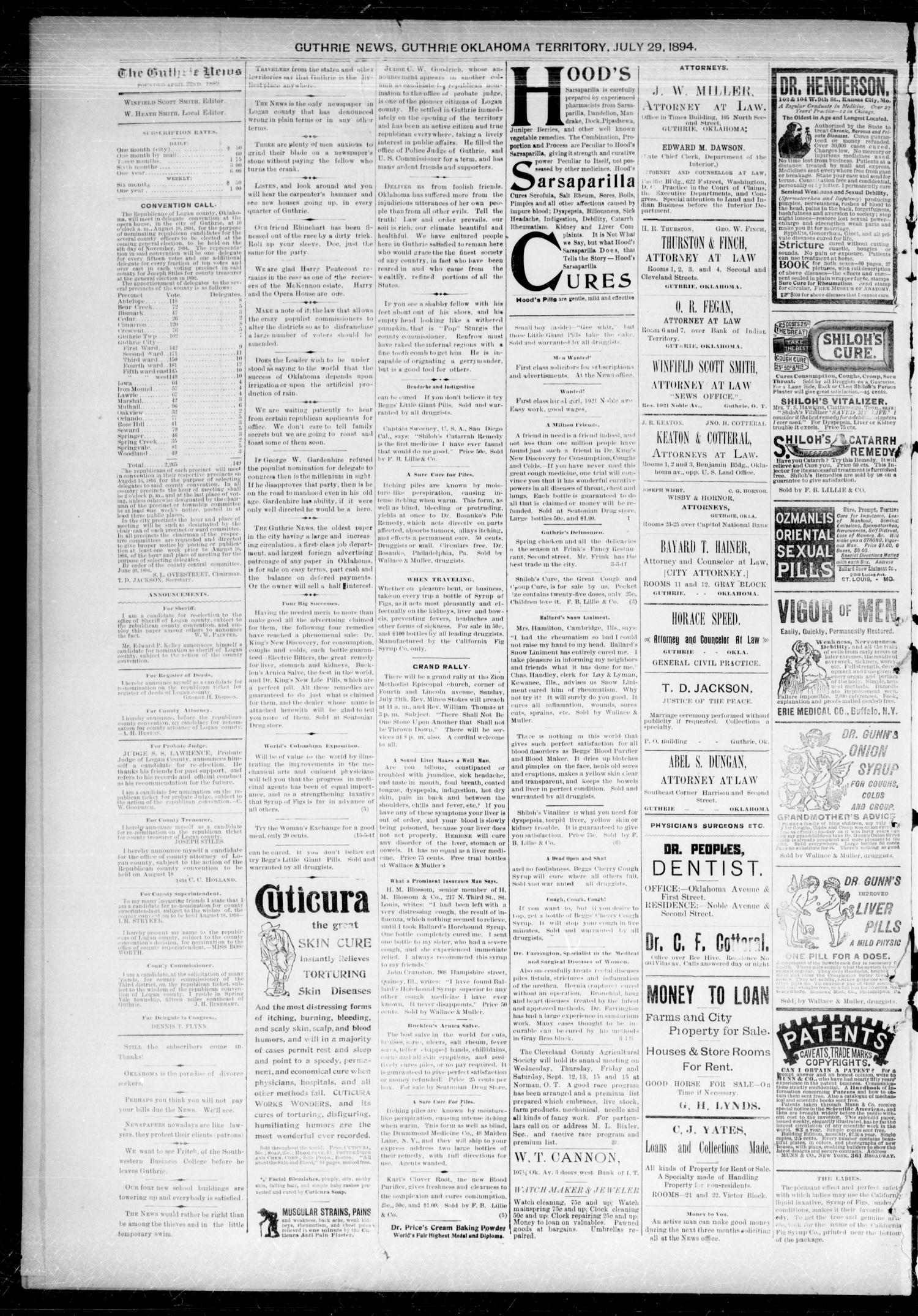 Guthrie Daily News. (Guthrie, Okla. Terr.), Vol. 5, No. 1548, Ed. 1 Sunday, July 29, 1894                                                                                                      [Sequence #]: 2 of 4