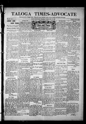 Primary view of Taloga Times-Advocate (Taloga, Okla.), Vol. 28, No. 41, Ed. 1 Thursday, March 23, 1922