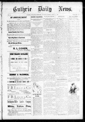 Primary view of object titled 'Guthrie Daily News. (Guthrie, Okla. Terr.), Vol. 5, No. 1432, Ed. 2 Thursday, March 15, 1894'.