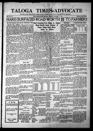 Primary view of object titled 'Taloga Times-Advocate (Taloga, Okla.), Vol. 30, No. 13, Ed. 1 Thursday, September 6, 1923'.