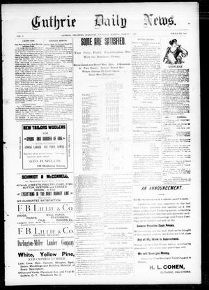 Primary view of object titled 'Guthrie Daily News. (Guthrie, Okla. Terr.), Vol. 5, No. 1422, Ed. 1 Thursday, March 1, 1894'.