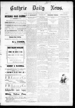 Primary view of object titled 'Guthrie Daily News. (Guthrie, Okla. Terr.), Vol. 5, No. 1435, Ed. 1 Sunday, March 18, 1894'.