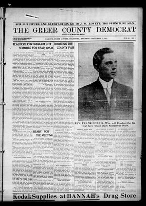 Primary view of object titled 'The Greer County Democrat (Mangum, Okla.), Vol. 25, No. 51, Ed. 1 Thursday, September 2, 1915'.