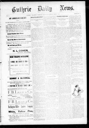 Primary view of object titled 'Guthrie Daily News. (Guthrie, Okla. Terr.), Vol. 5, No. 1425, Ed. 1 Wednesday, March 7, 1894'.
