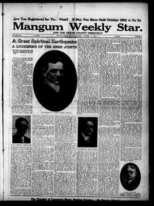 Primary view of object titled 'Mangum Weekly Star. and The Greer County Democrat (Mangum, Okla.), Vol. 29, No. 18, Ed. 1 Thursday, October 19, 1916'.