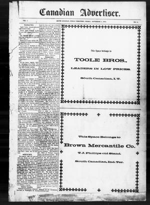 Primary view of object titled 'Canadian Advertiser. (South Canadian, Indian Terr.), Vol. 1, No. 1, Ed. 1 Friday, September 2, 1898'.