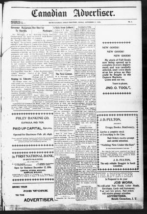 Primary view of object titled 'Canadian Advertiser. (South Canadian, Indian Terr.), Vol. 2, No. 3, Ed. 1 Friday, September 15, 1899'.