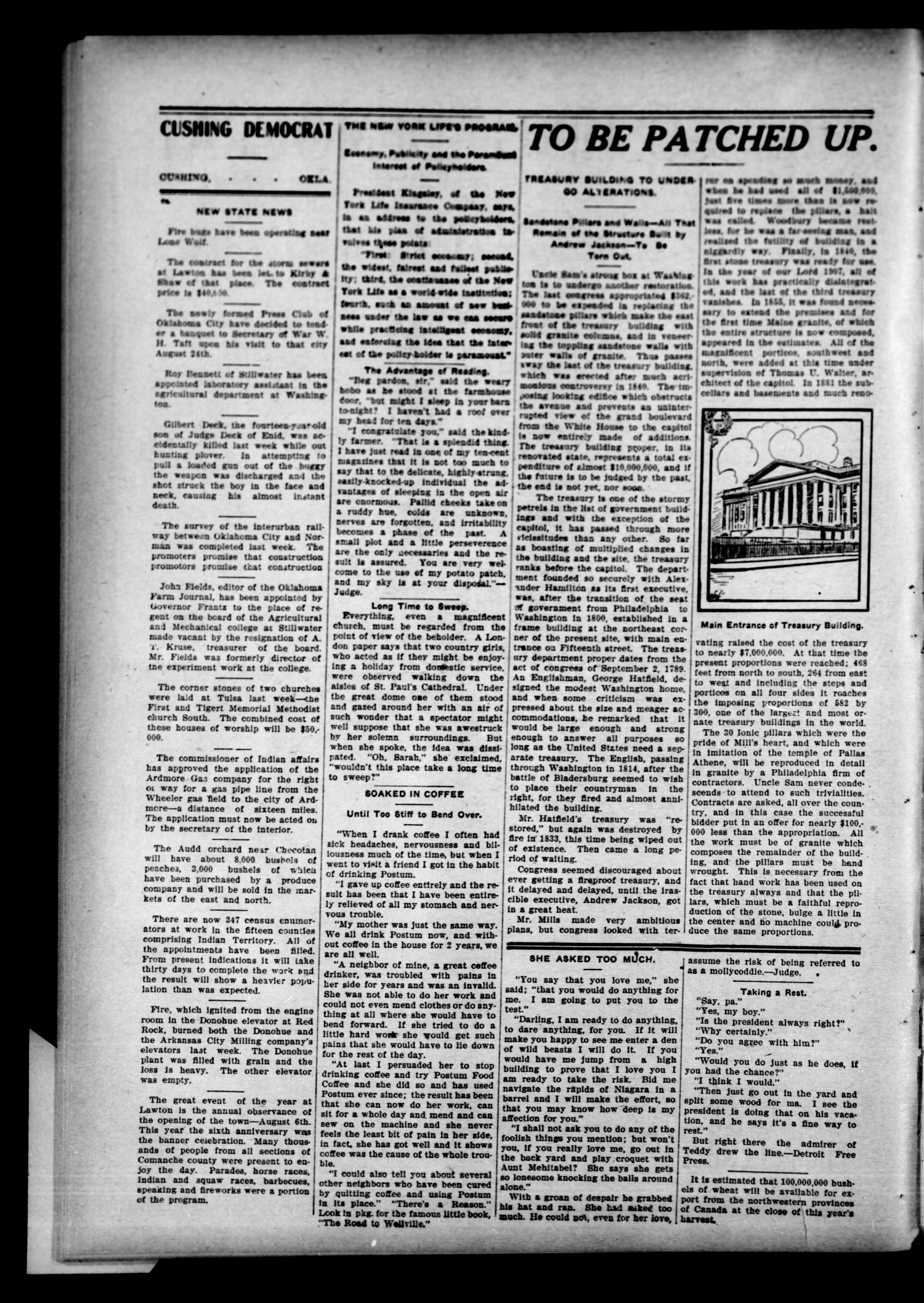 The Cushing Democrat (Cushing, Okla.), Vol. 2, No. 16, Ed. 1 Thursday, August 22, 1907                                                                                                      [Sequence #]: 2 of 12