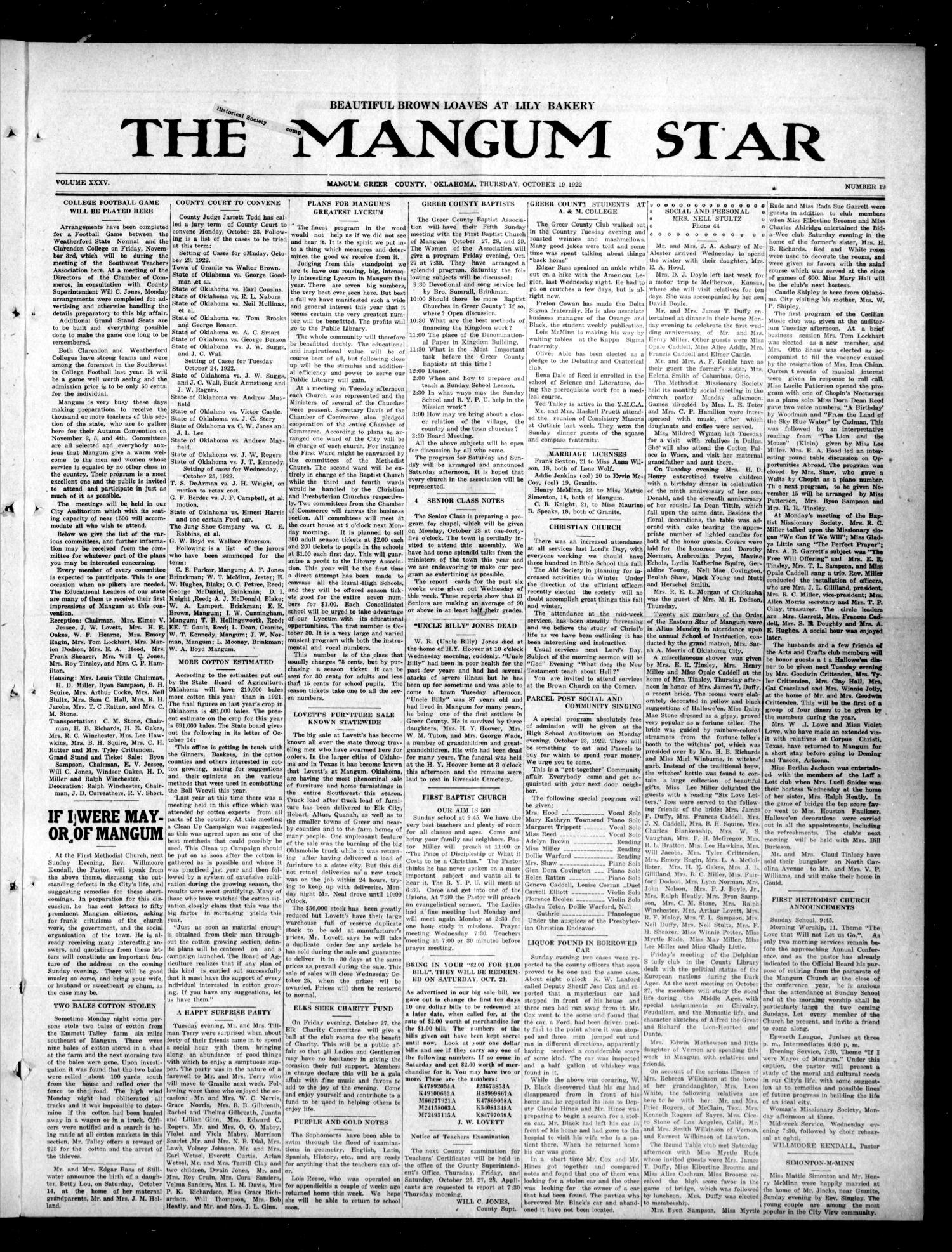 The Mangum Star (Mangum, Okla.), Vol. 35, No. 19, Ed. 1 Tuesday, October 10, 1922                                                                                                      [Sequence #]: 1 of 11
