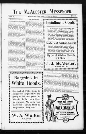 Primary view of object titled 'The McAlester Messenger. (M'Alester, Indian Terr.), Vol. 3, No. 33, Ed. 1 Friday, June 16, 1905'.