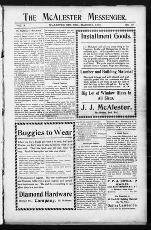Primary view of object titled 'The McAlester Messenger. (M'Alester, Indian Terr.), Vol. 3, No. 19, Ed. 1 Friday, March 3, 1905'.