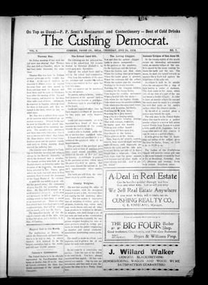 Primary view of object titled 'The Cushing Democrat. (Cushing, Okla.), Vol. 3, No. 7, Ed. 1 Thursday, June 25, 1908'.