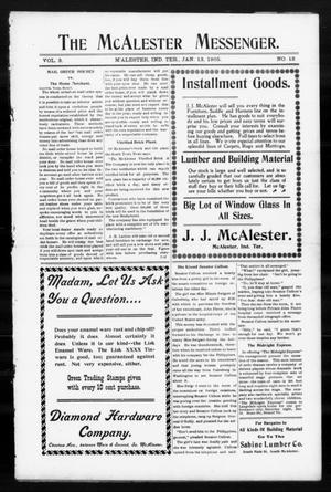Primary view of object titled 'The McAlester Messenger. (M'Alester, Indian Terr.), Vol. 3, No. 12, Ed. 1 Friday, January 13, 1905'.