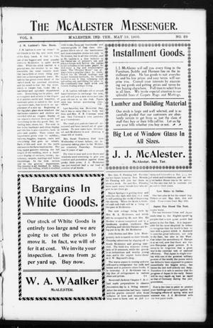 Primary view of object titled 'The McAlester Messenger. (M'Alester, Indian Terr.), Vol. 3, No. 29, Ed. 1 Friday, May 19, 1905'.