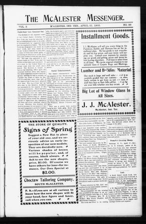 Primary view of object titled 'The McAlester Messenger. (M'Alester, Indian Terr.), Vol. 3, No. 26, Ed. 1 Friday, April 21, 1905'.