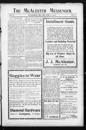 Primary view of object titled 'The McAlester Messenger. (M'Alester, Indian Terr.), Vol. 3, No. 15, Ed. 1 Friday, February 3, 1905'.